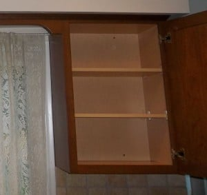 After organizing our dish cabinets we were left with an empty cabinet.