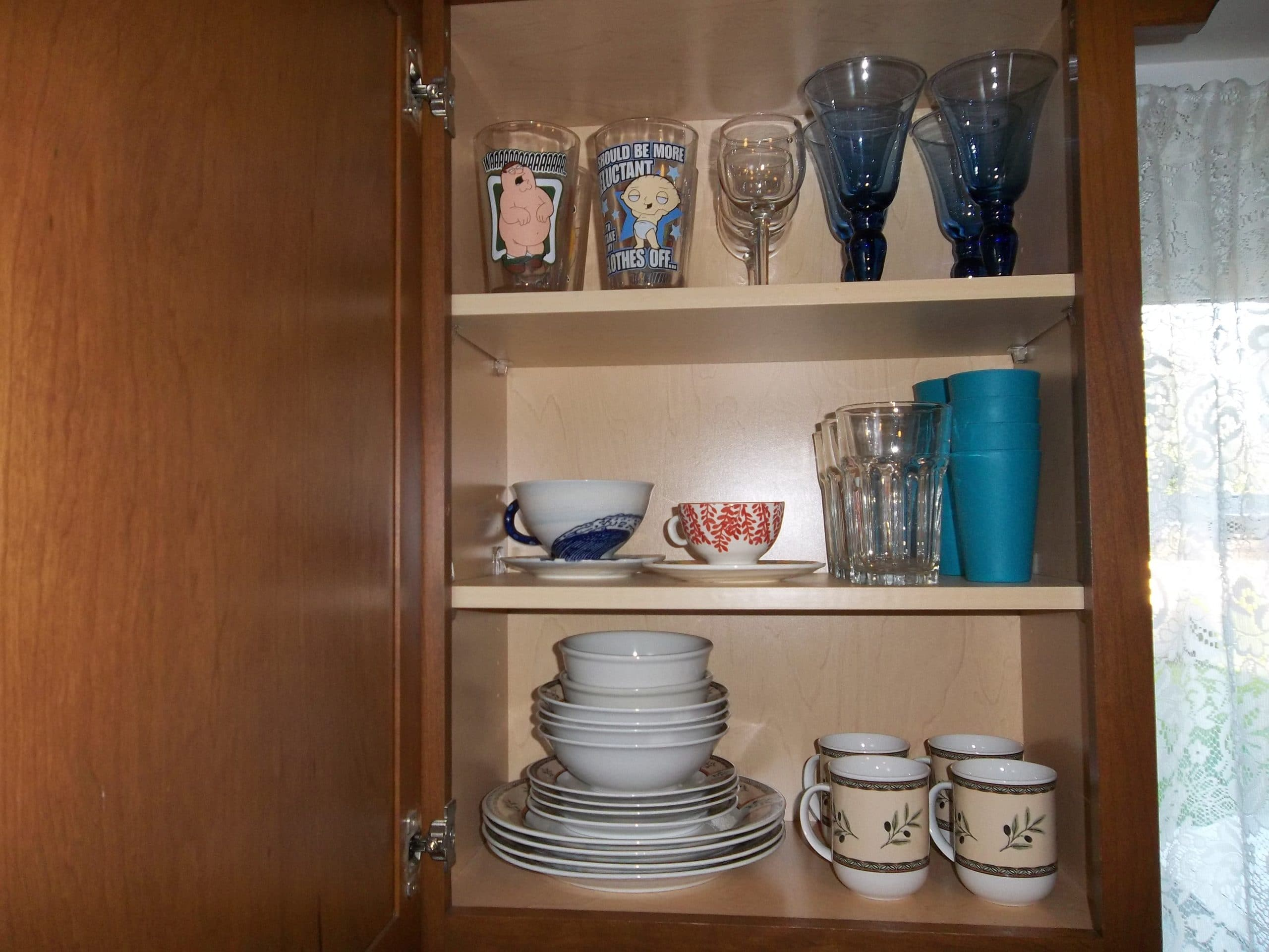 dish organizers in kitchen cabinets organize kitchen cabinets how we got rid of 99 dishes 14829