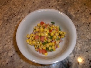 Yellow corn salsa with simple ingredients.