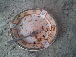 A dirty plate from last night's dinner.