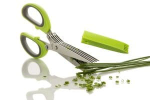 The Freshcut herb scissors cutting green onions.