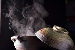 steaming hot water in a pot