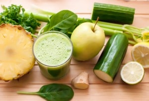 Healthy green detox juice.