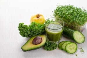 Fresh green detox juice.