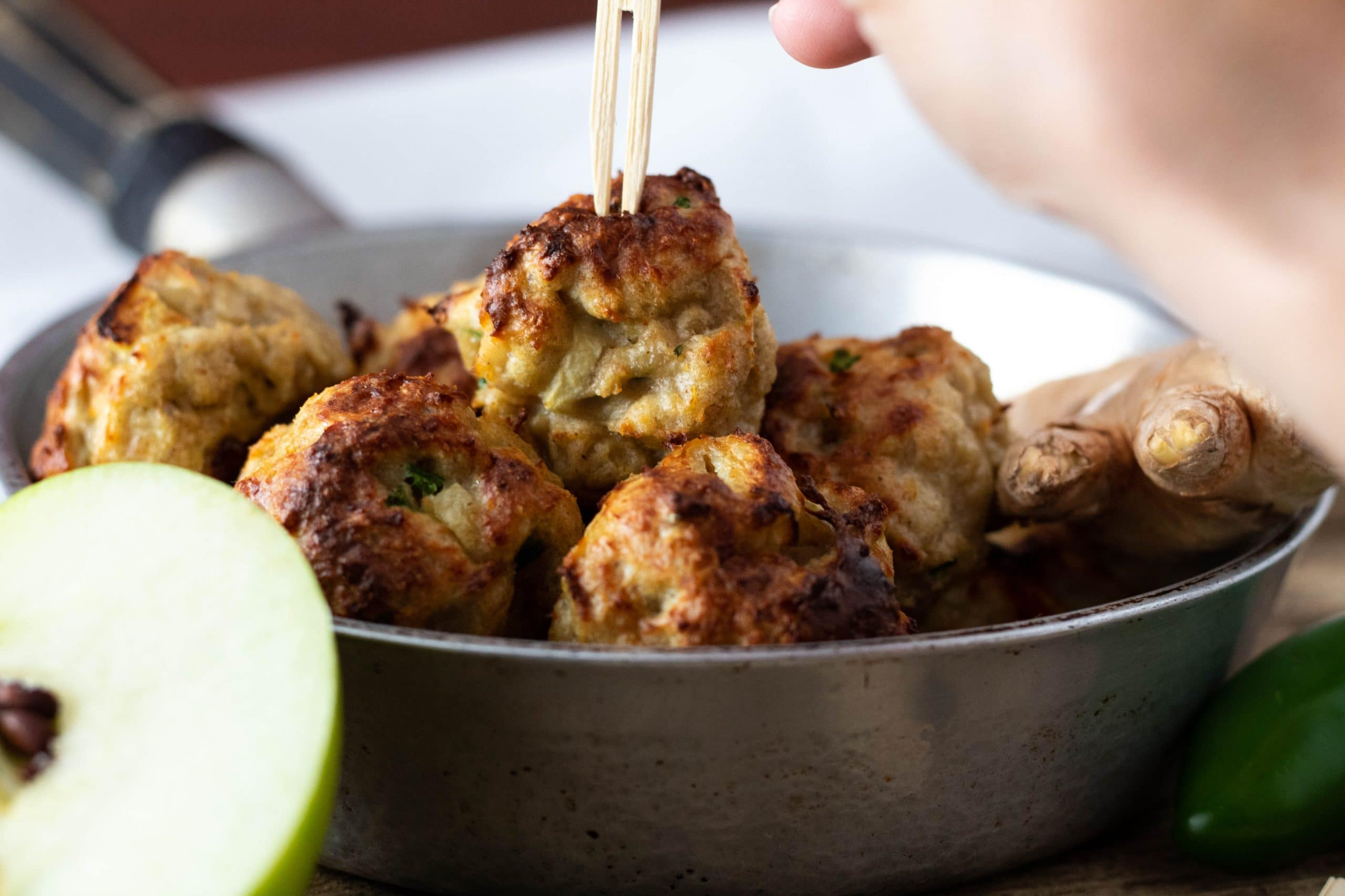 apple jalapeno ginger chicken meatballs
