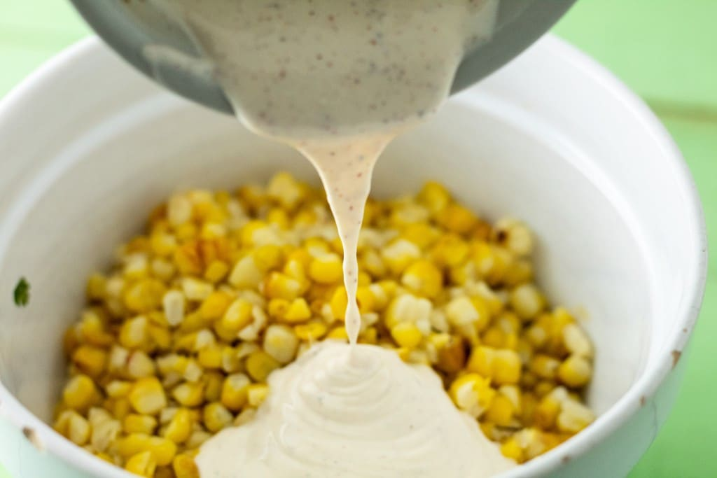 add the corn and mayo to the bowl to complete the corn and chorizo dip