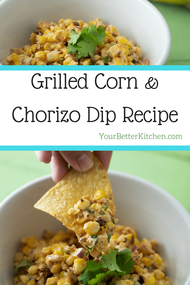 Pin for grilled corn and chorizo dip