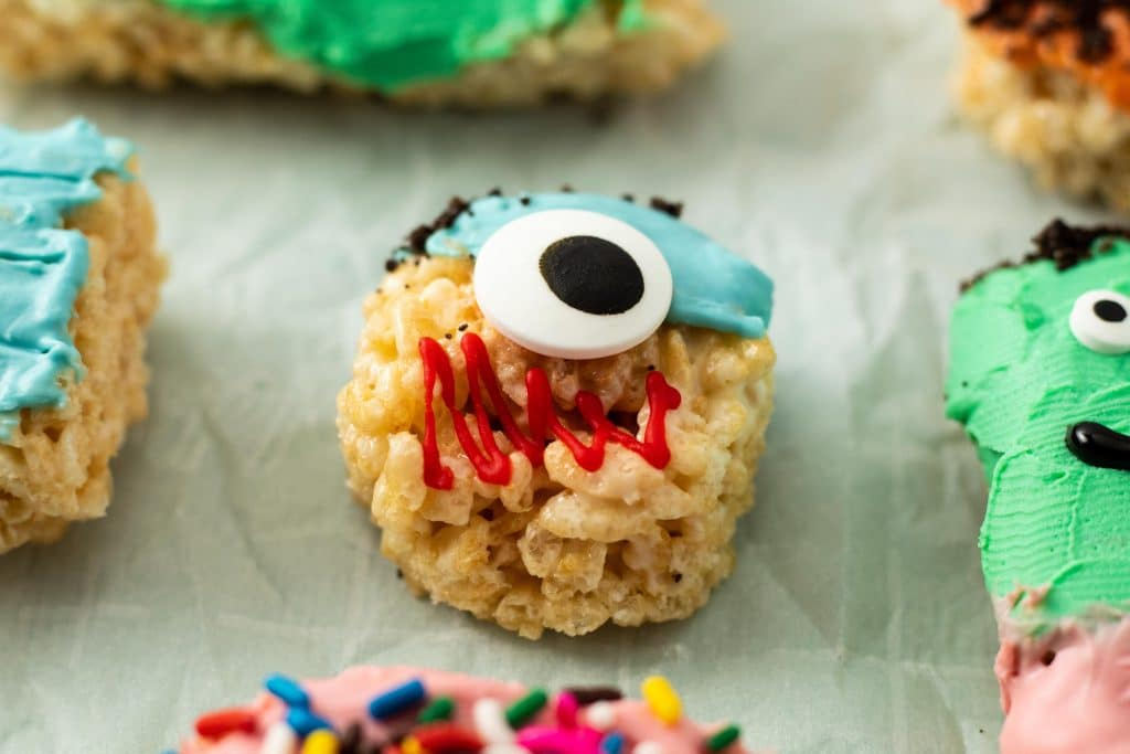 Blue Cyclops Monster Rice Krispie Treat