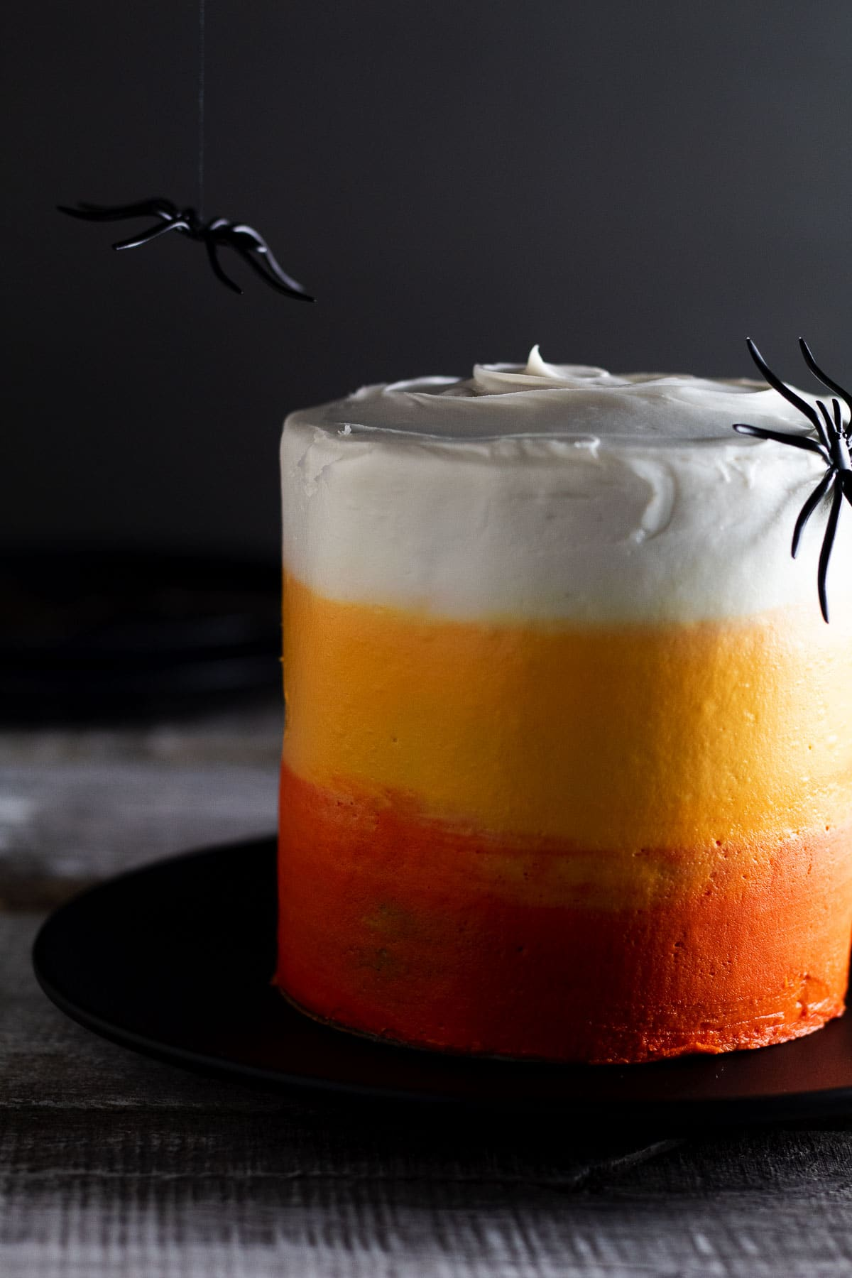This is our beautiful Halloween Ombre cake mini's made in the air fryer with toy spiders hanging.