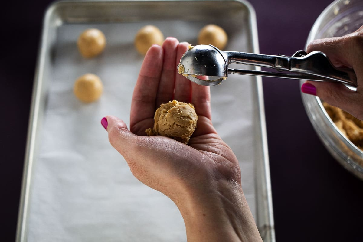 This is an image of the peanut butter balls being formed.