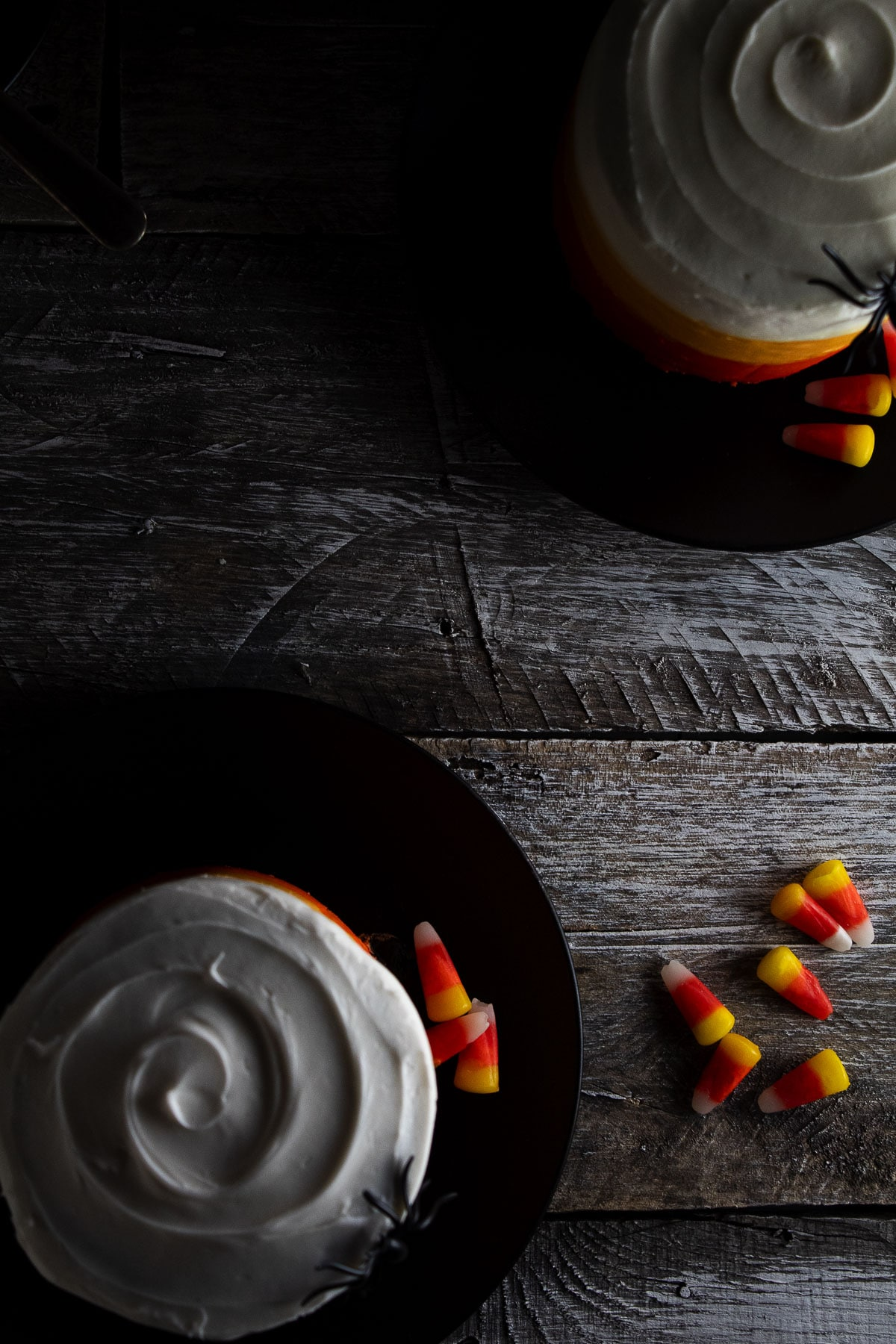 These air fryer Halloween cakes are seen from above.