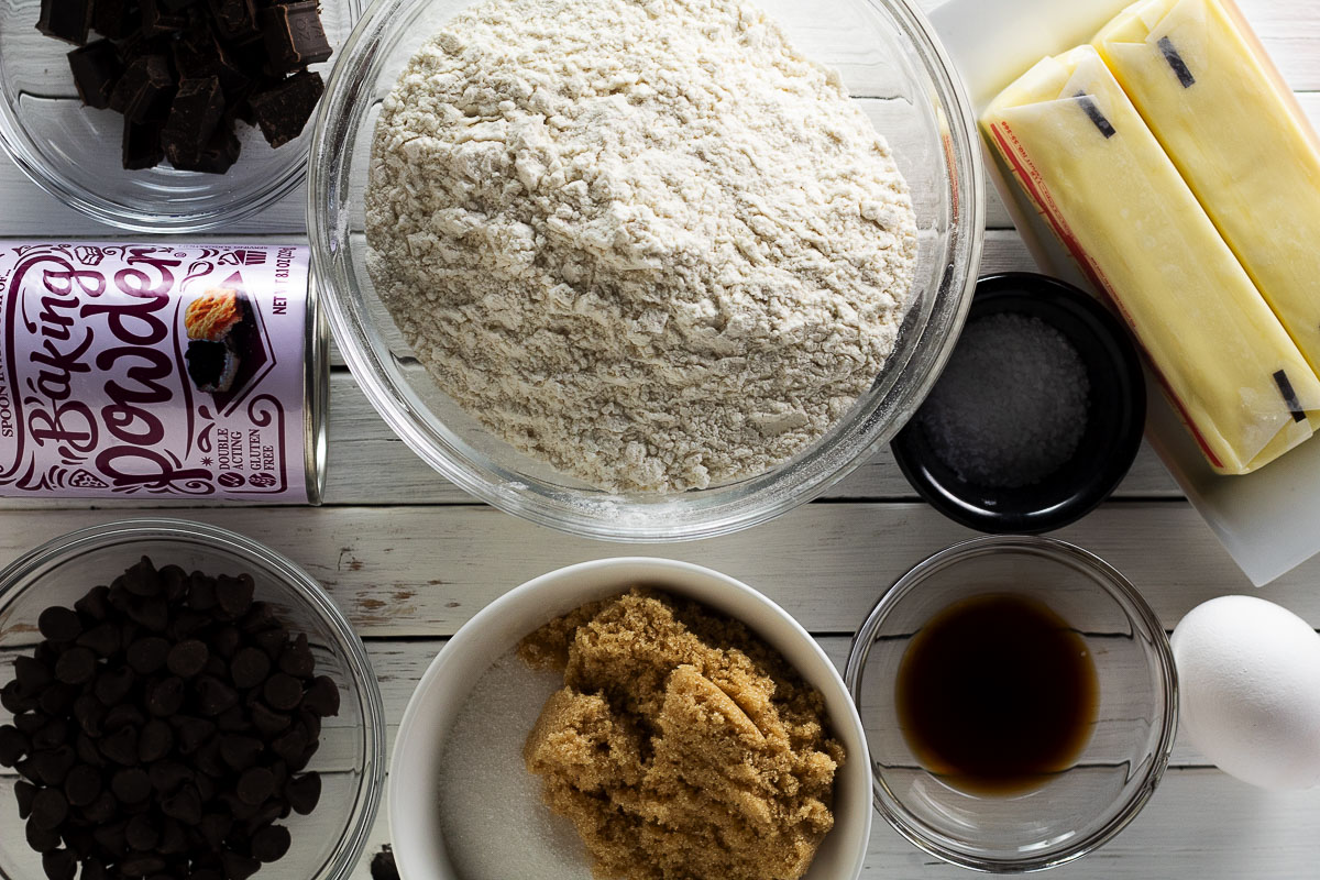 Grouping of all of the ingredients necessary to make a hot cookie dough.