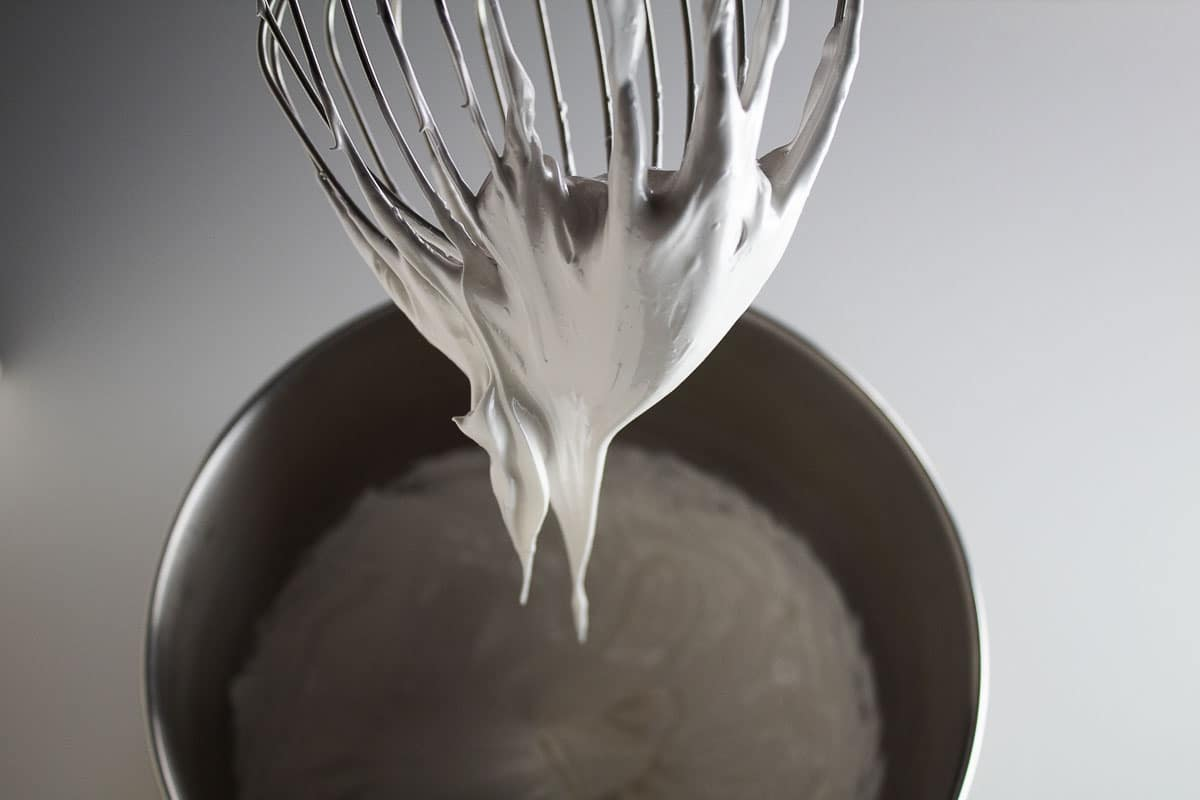 You will know when the marshmallow fluff is finished when the peaks are glossy.