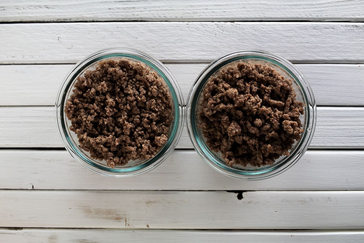 On the right, there is ground beef, while  the bowl on the left is blended ground beef.