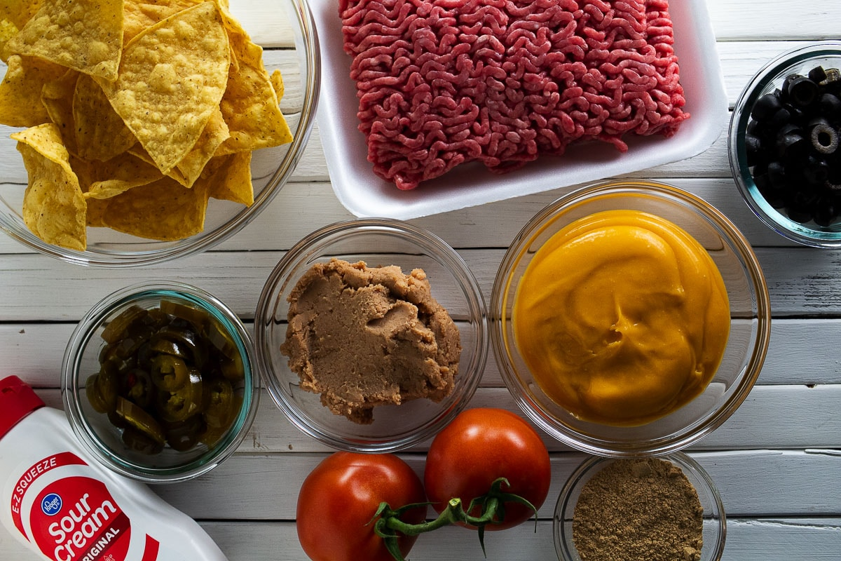 Pictured here all of the ingredients for nachos bell grande from Taco Bell.