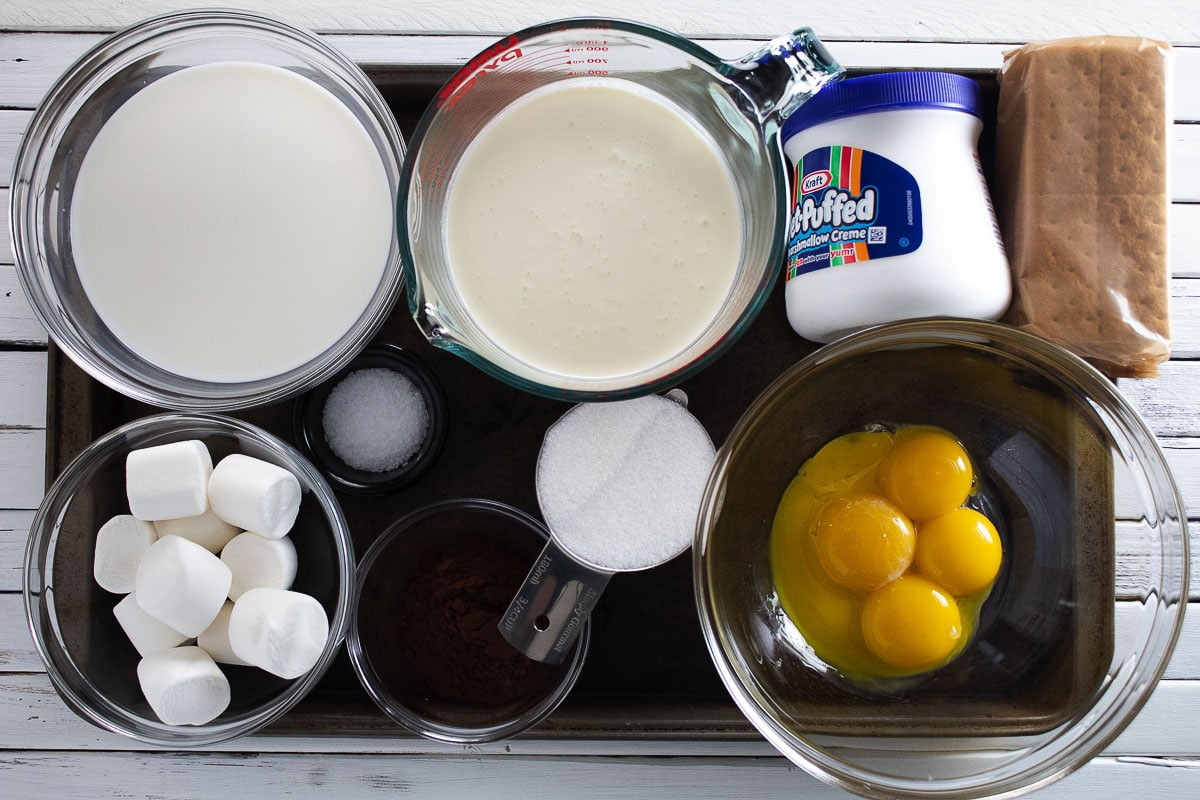Ingredients for s'mores ice cream sandwiches.