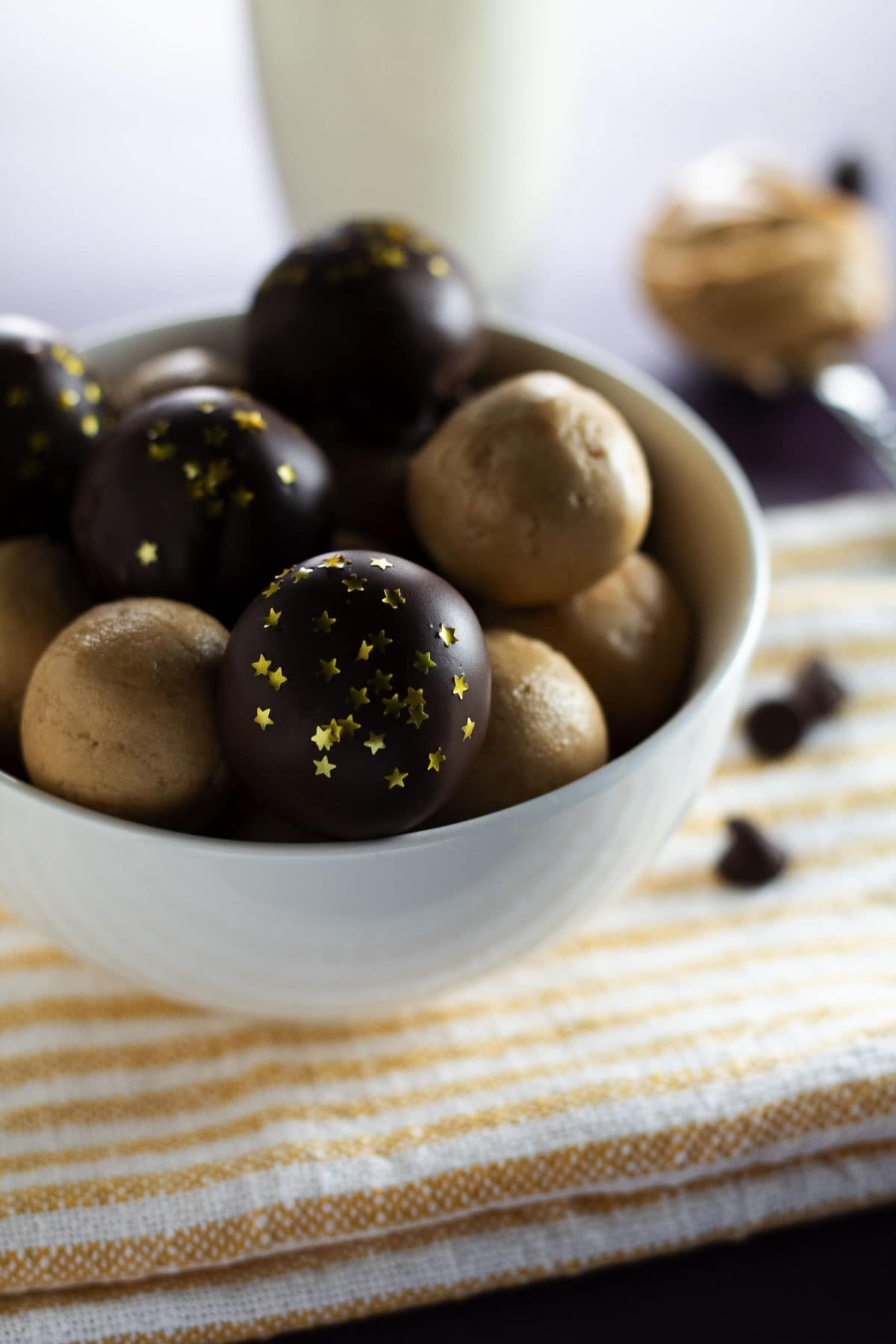 This image is an up-close shot of our old-fashioned peanut butter balls.