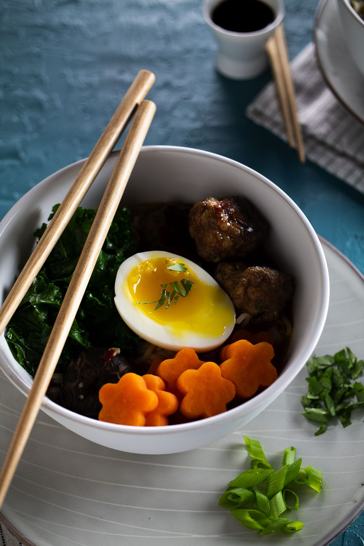 This is our turkey meatball and sweet potato ramen up close.