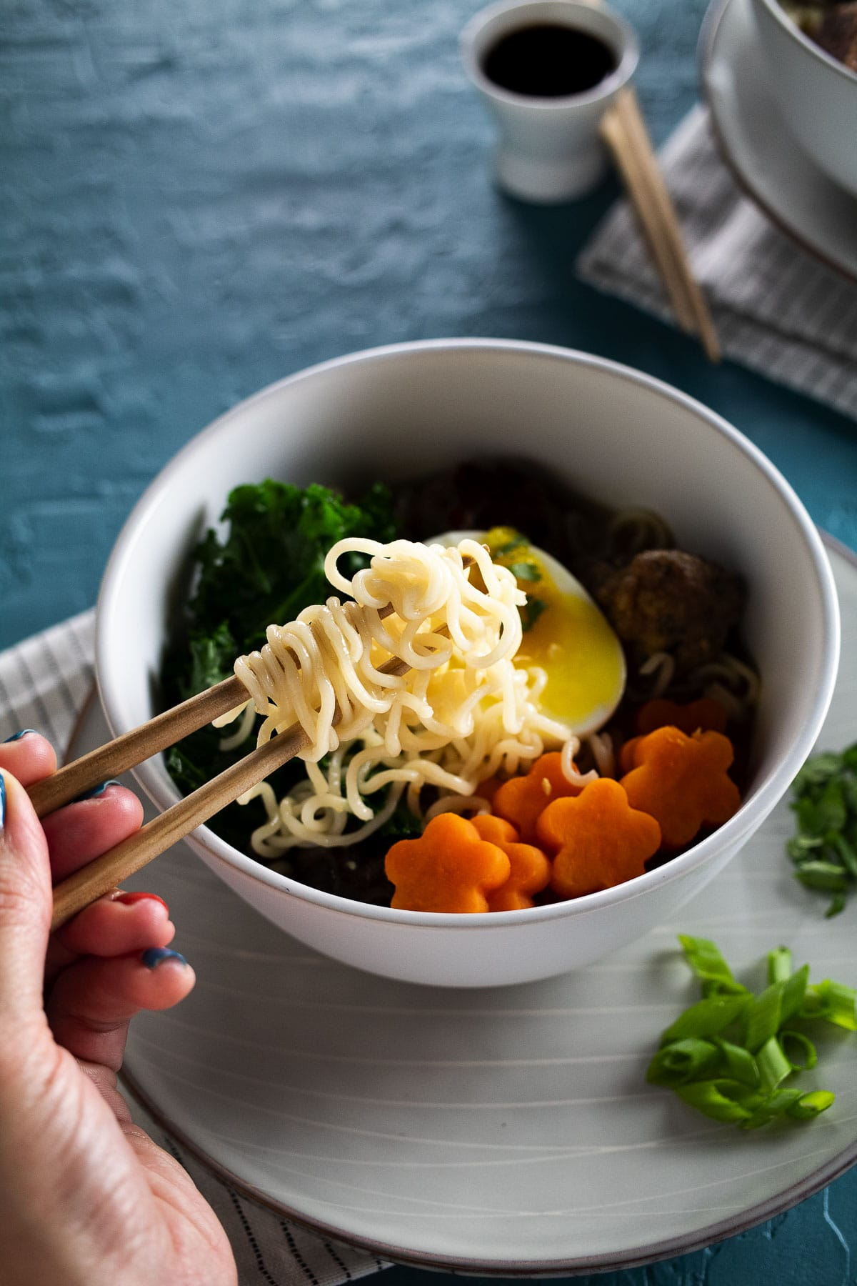 This is an image of our turkey meatballs and sweet potato ramen.